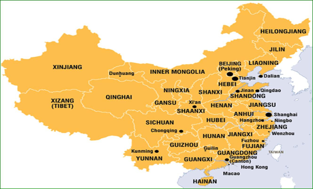China Map In English.China Agency For Scholarship And Admission